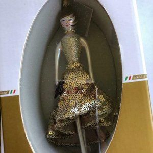 De Carlini Samantha Gold Dress Christmas Ornament